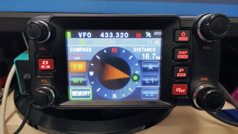 FTM-400XDH 交信相手との距離・方角表示