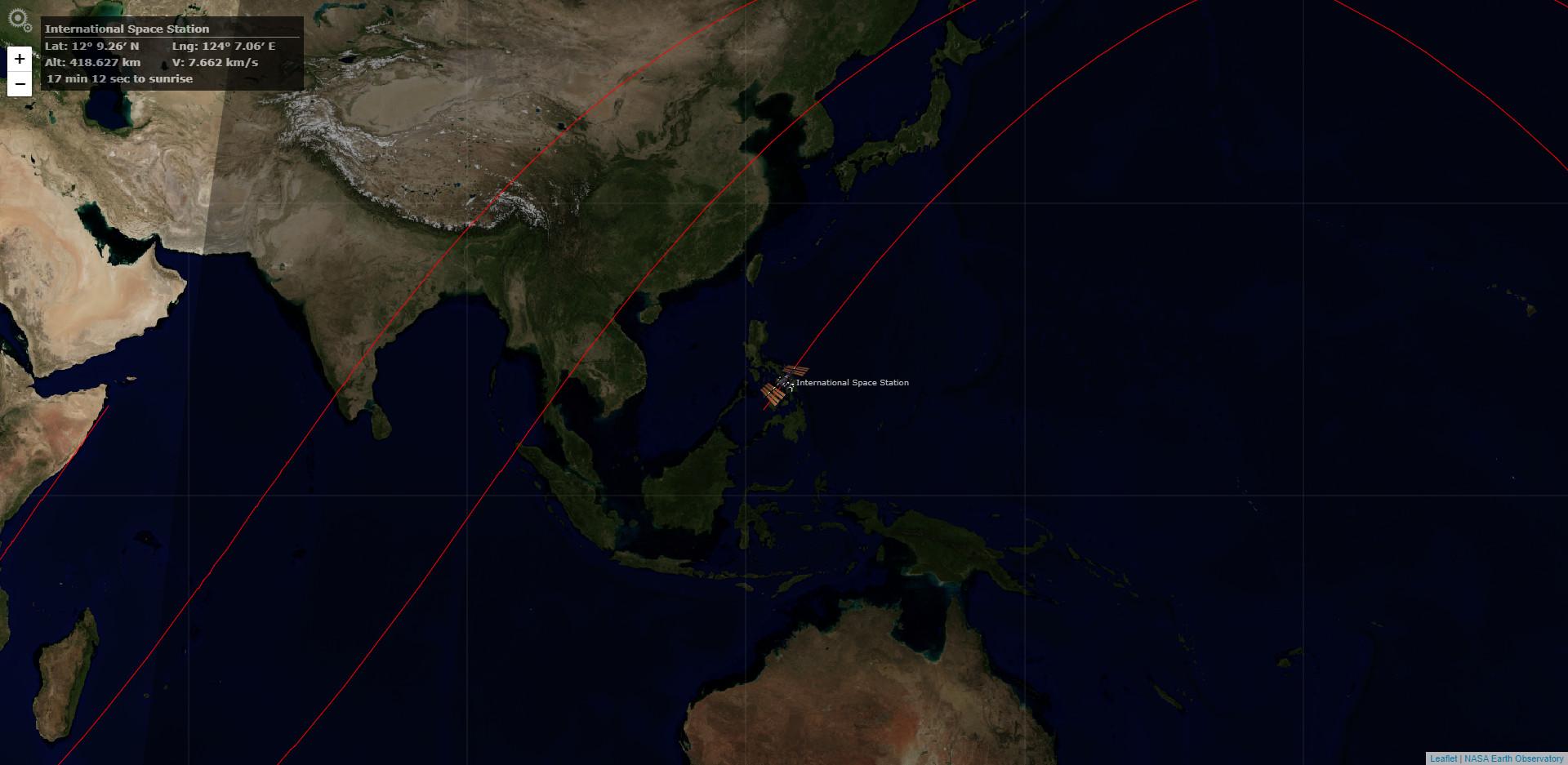 OrbTrack ISSの現在位置 (2020.09.05 23:04)